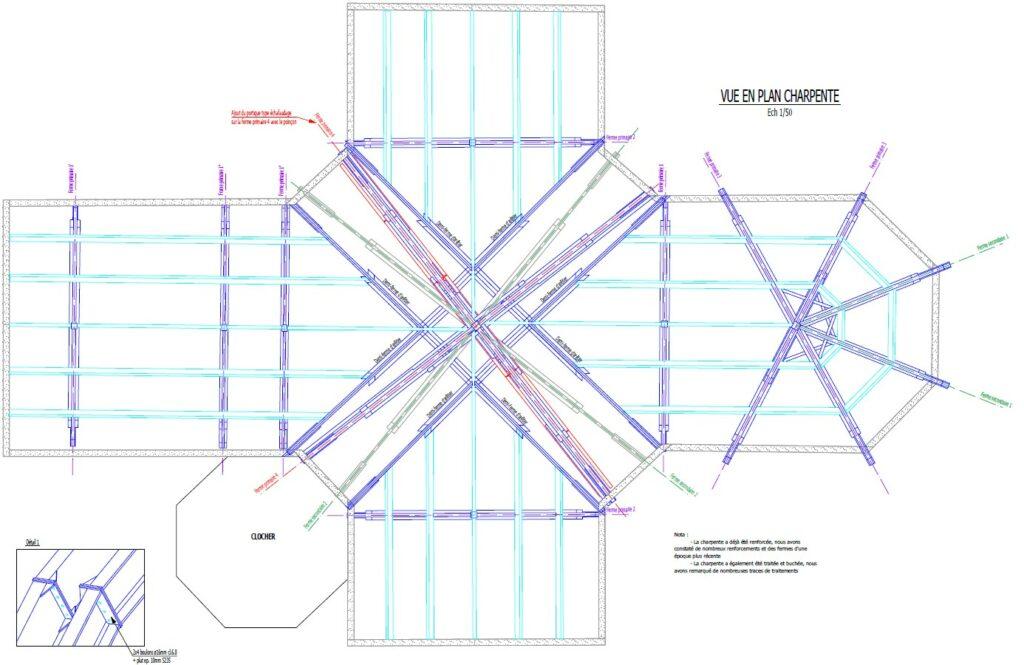 Extrait du plan de renforcement de la charpente - Ascia Structure 2