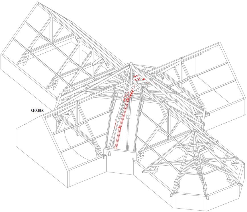 Extrait du plan de renforcement de la charpente - Ascia Structure